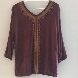 Miss Me Vintage Incredible maroon shirt.